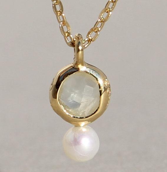 Silbercollier vergoldet mit Phrenit und SWZ-Perle