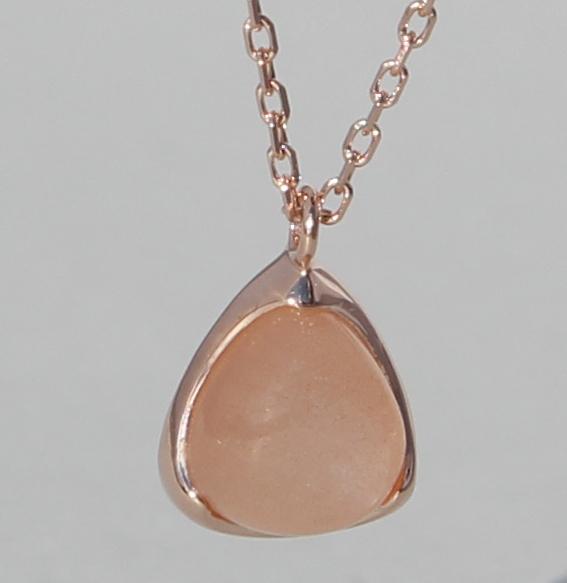 Silbercollier rosé vergoldet mit Mondstein orange | Fine Triangle