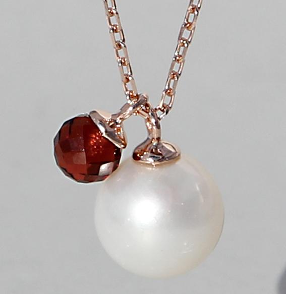 Silbercollier rosé vergoldet; SWZ Perle und Granat | Fine Pearls