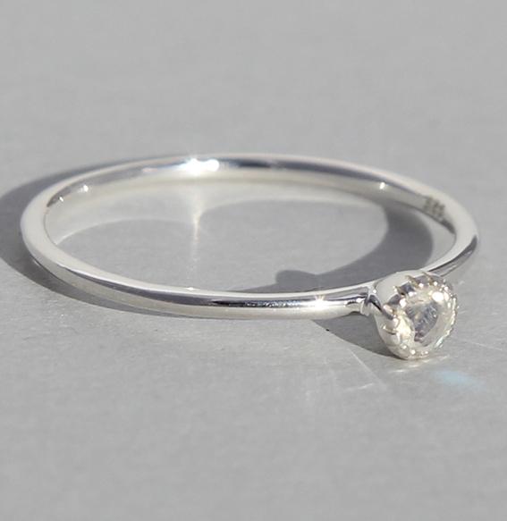 Silberring Mondstein | Krönchen klein