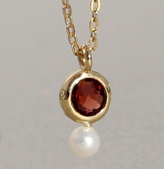 Silbercollier vergoldet mit Granat und SWZ-Perle