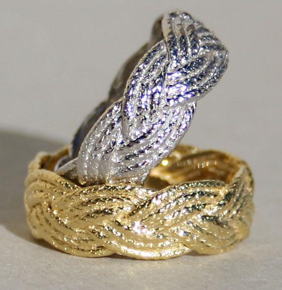Silberring vergoldet | Kordel geflochten