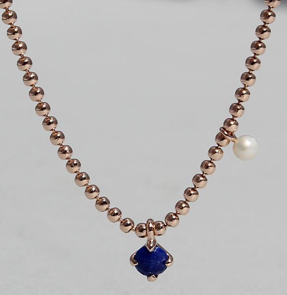 Silbercollier mit Lapis und SWZ Perle rose vergoldet| Moon