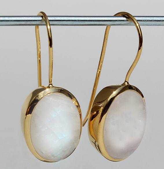 Silberohrhänger vergoldet mit Mondstein