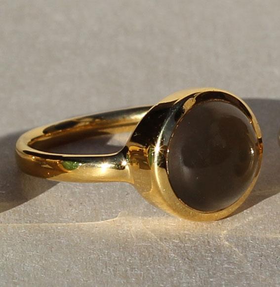 Silberring vergoldet mit Mondstein grau