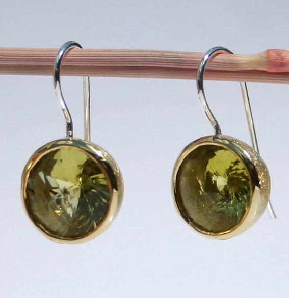 Silberohrhänger vergoldet mit Lemonquarz Swirlschliff