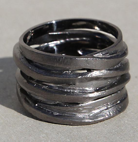 Silberring schwarz rhodiniert | Zopfwickel