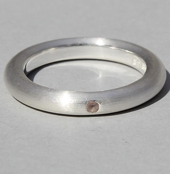 Silberring mit Rosenquarz | strack plain