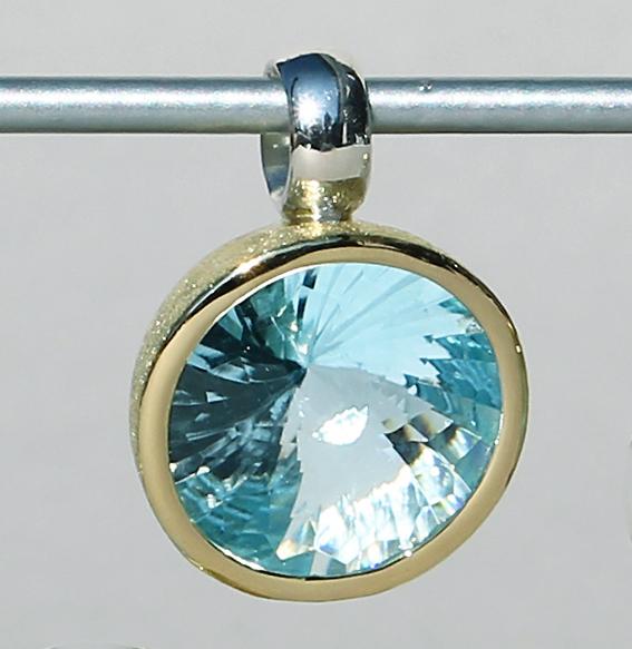 Silberanhänger vergoldet mit Topas | Swirlschliff