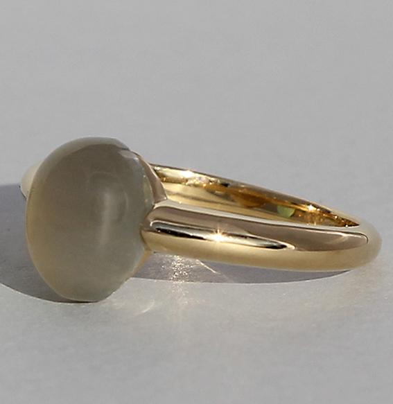 Silberring vergoldet | Pear mit Mondstein grau