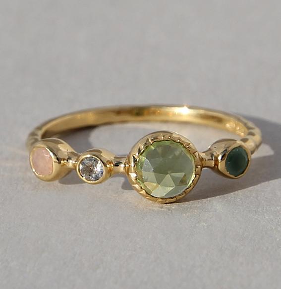 Silberring vergoldet mit div. Edelsteinen