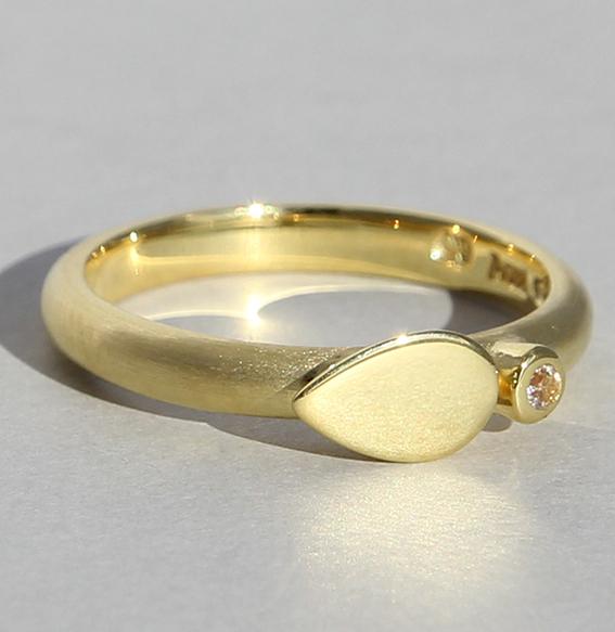 Silberring vergoldet mit Bergkristall