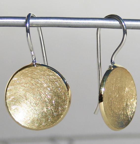 Silberohrhänger Schale klein | vergoldet
