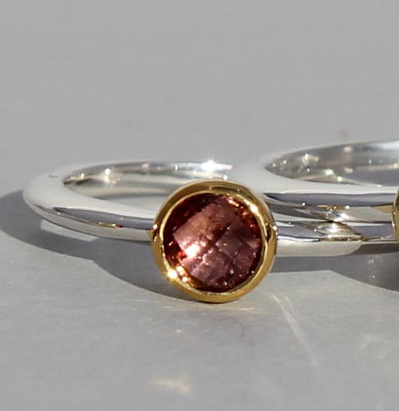 Silberring teilvergoldet mit Turmalin pink | fine flat