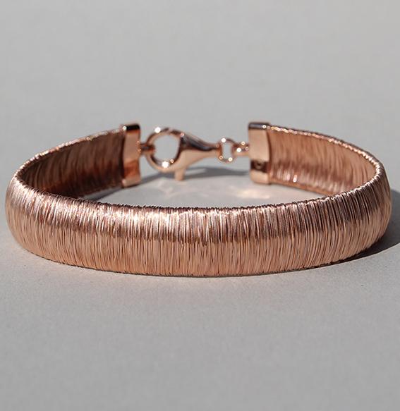 Silberarmband rosé vergoldet | River breit