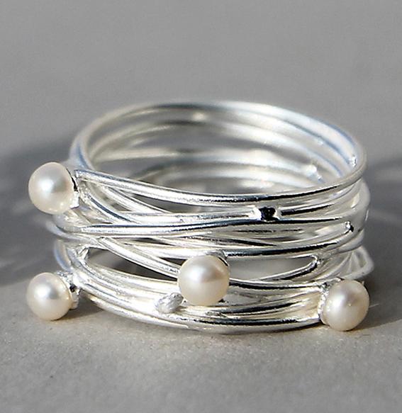 Silberring mit SWZ Perlen | Quatro