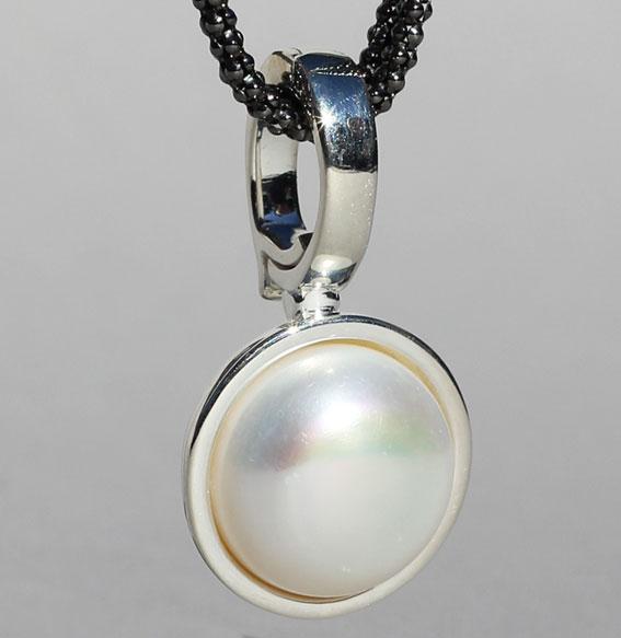 Silberanhänger   Button mit Mabe Perle