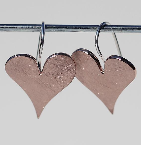Silberohrhänger rosé vergoldet | sharp heart