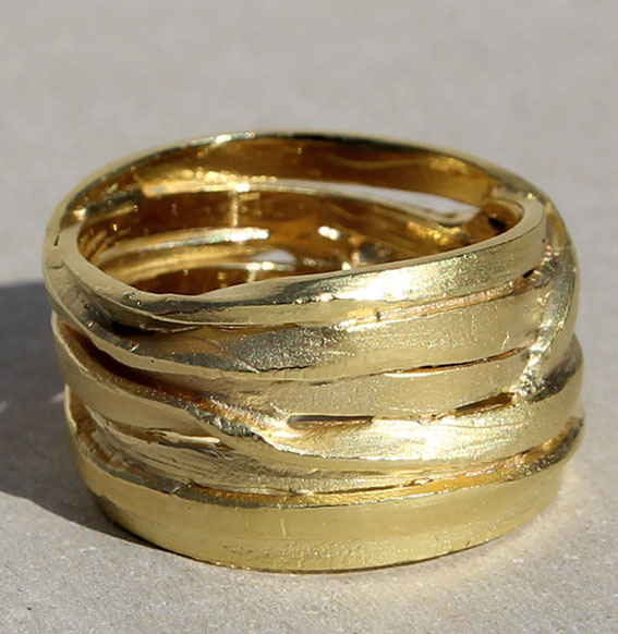 Silberring vergoldet | Zopfwickel