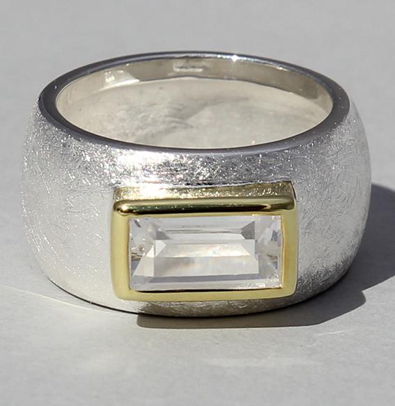 Silberring teilvergoldet mit Bergkristall   Gandall