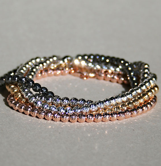 Silberarmband -Kugel- 4 mm, rhodiniert