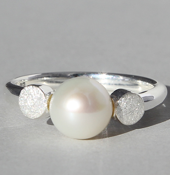 Silberring mit SWZ Perle | Knopf