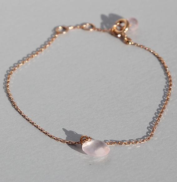 Silberarmband Rosenquarz vergoldet (Bild rosé vergoldet)