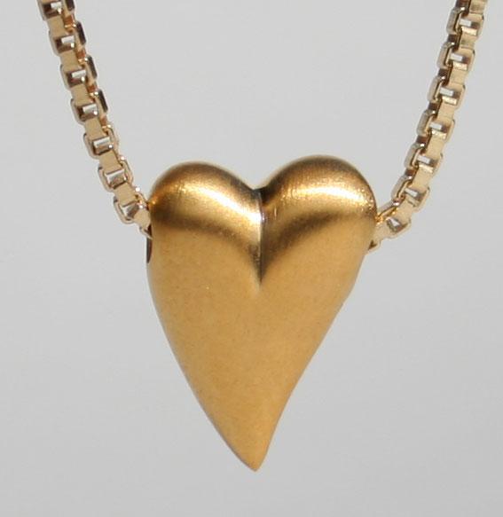 Herz quergebohrt matt vergoldet | Micro