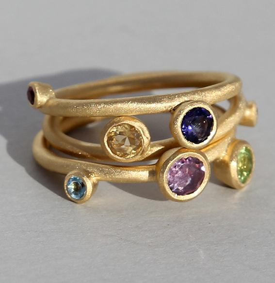 Silberring vergoldet 3-teilig | Sparkel mit div. Steinen