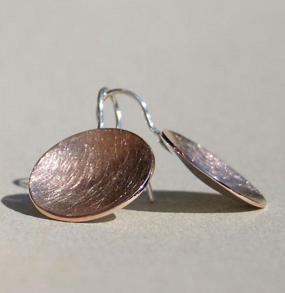 Silberohrhänger Schale klein | rosé vergoldet