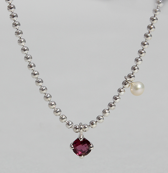 Silbercollier mit Rhodolith und SWZ Perle | Moon