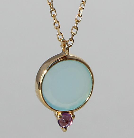 Silbercollier vergoldet mit Aqua Chalcedon und Amethyst | Krona