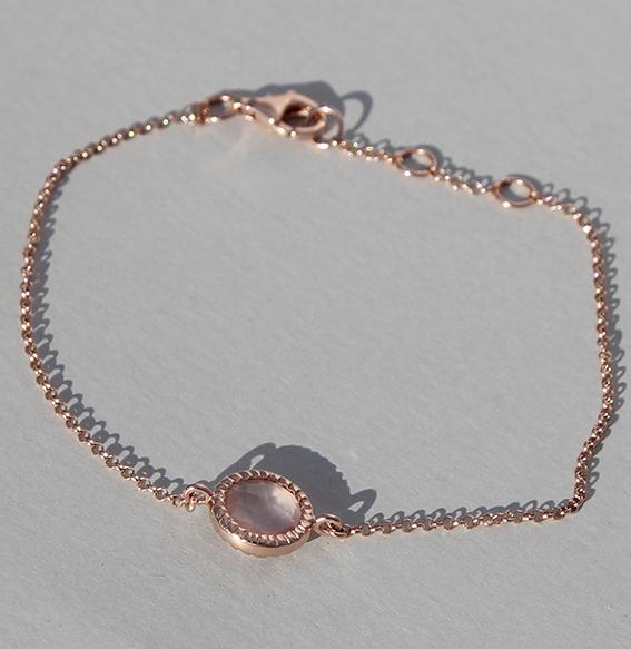 Silberarmband rosé vergoldet mit Rosenquarz | Spring sparkle