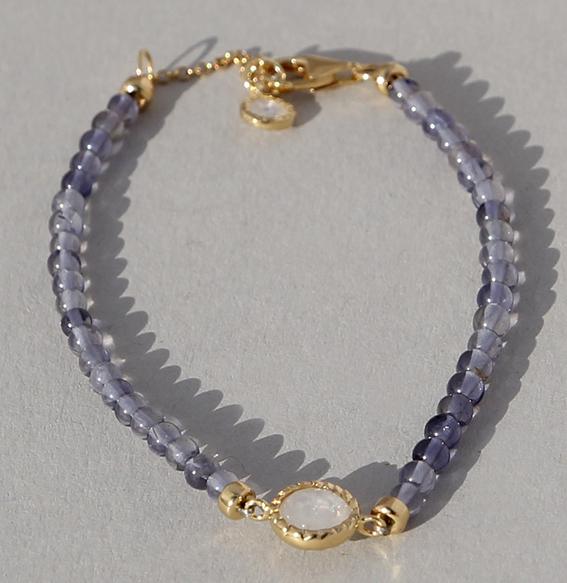 Steinarmband mit Silber und Mondstein/Iolith