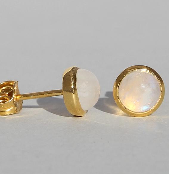 Silberohrstecker vergoldet mit Mondstein