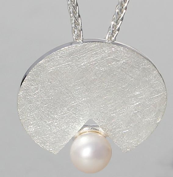 Silberanhänger mit SWZ Perle | Disc