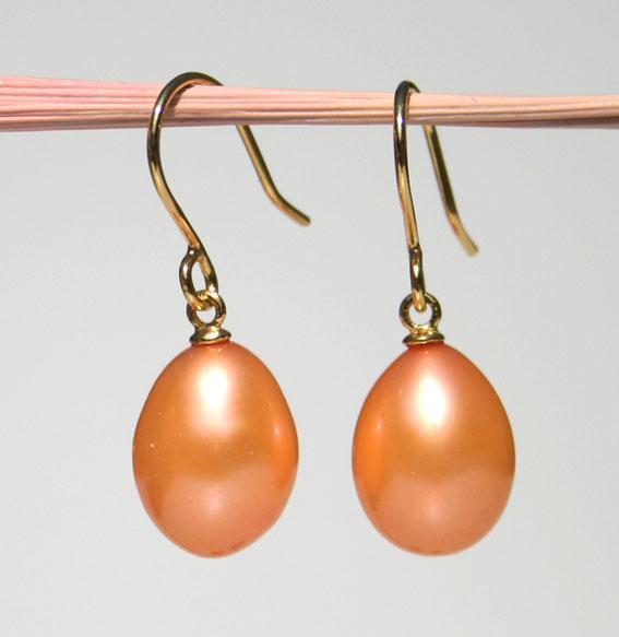 SWZ-Perlenohrhänger, vergoldet - apricot -