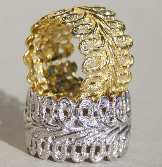 Silberring vergoldet | Spitze breit