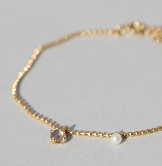 Silberarmband vergoldet mit Labradorit und SWZ Perle | Moon