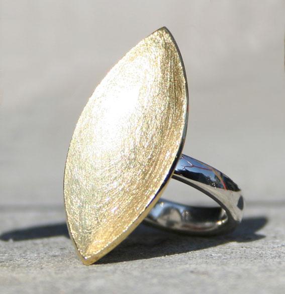 Silberring Navette vergoldet