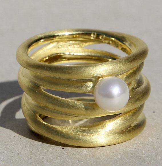 Silberring vergoldet mit SWZ Perle | Cluster
