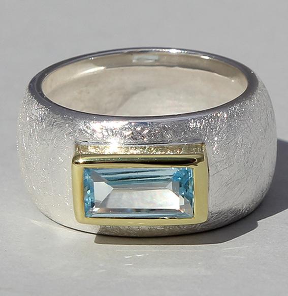Silberring teilvergoldet mitTopas | Gandall