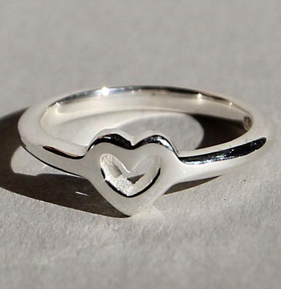Silberring Single Heart | poliert