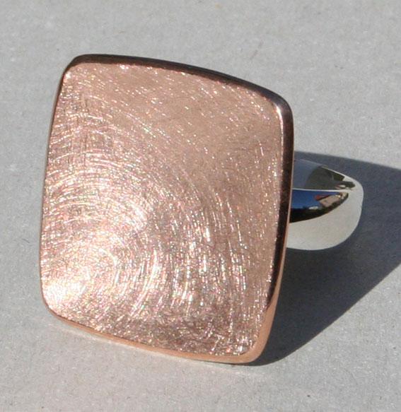 Silberring -Carree- rosé vergoldet