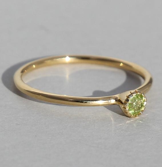 Silberring vergoldet Peridot | Krönchen klein