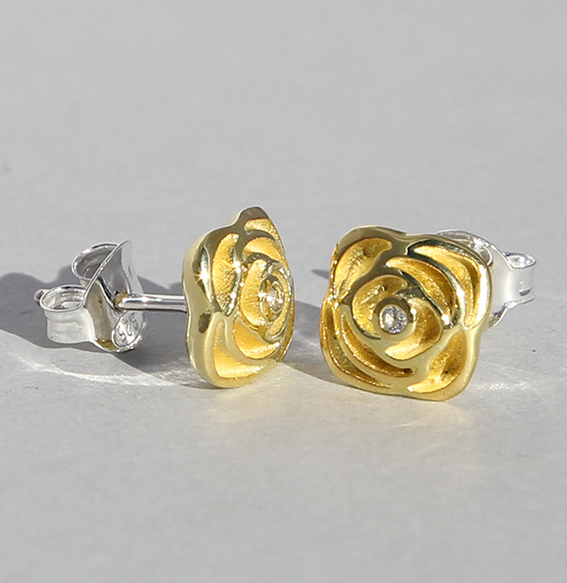 "Silberohrstecker ""Rose"" vergoldet"