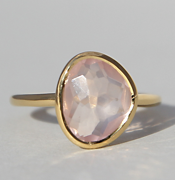 Silberring vergoldet mit Rosenquarz | Fine sparkle big