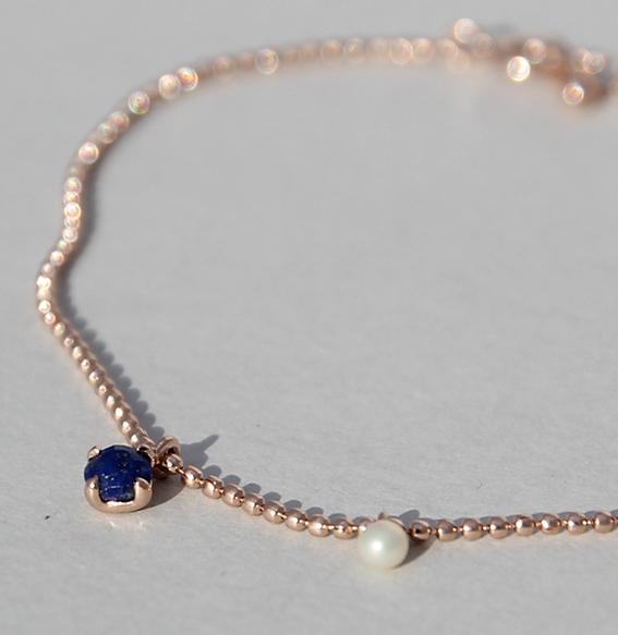 Silberarmband rosé vergoldet mit Lapis und SWZ Perle | Moon