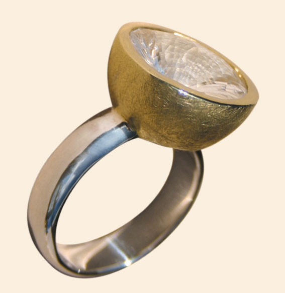 Silberring vergoldet, Bergkristall