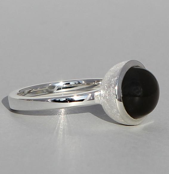 Silberring | Cup mit Mondstein grau